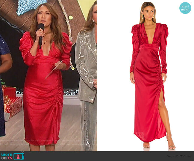x REVOLVE Poppy Deep V Gown by Rococo Sand worn by Carrie Inaba  on The Talk