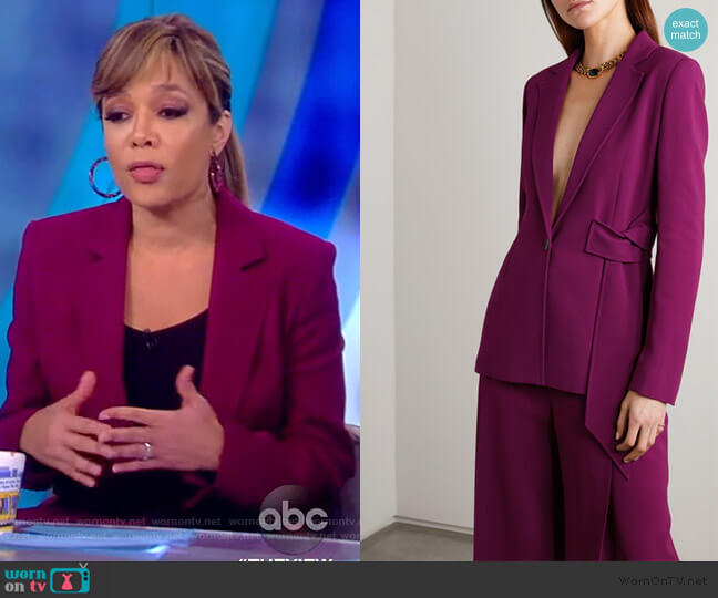 Balair belted stretch-crepe blazer by Roland Mouret worn by Sunny Hostin  on The View