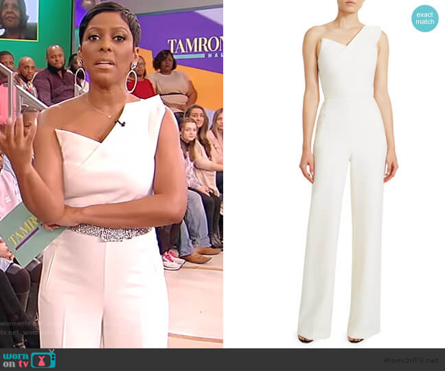 Platano one-shoulder wool-crepe jumpsuit by Roland Mouret worn by Tamron Hall  on Tamron Hall Show