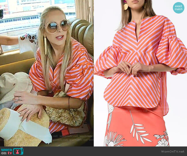 Anni Puff-Sleeve Striped Blouse by Silvia Tcherassi worn by Kameron Westcott  on The Real Housewives of Dallas