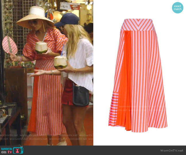 Brezo Pleated Striped Skirt by Silvia Tcherassi worn by Kameron Westcott  on The Real Housewives of Dallas