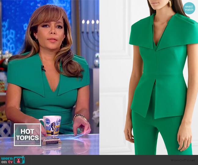 Felicitas stretch-crepe peplum top by Safiyaa worn by Abby Huntsman  on The View