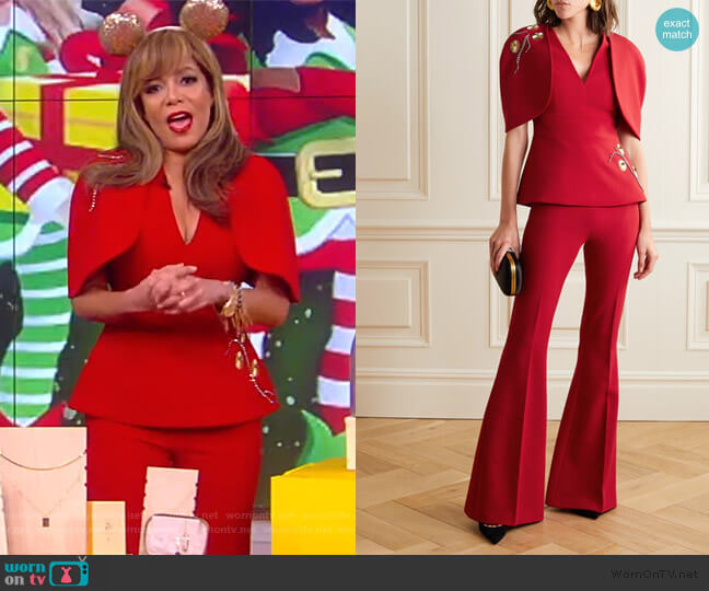Orion cutout embellished crepe top and pants by Safiyaa worn by Sunny Hostin  on The View
