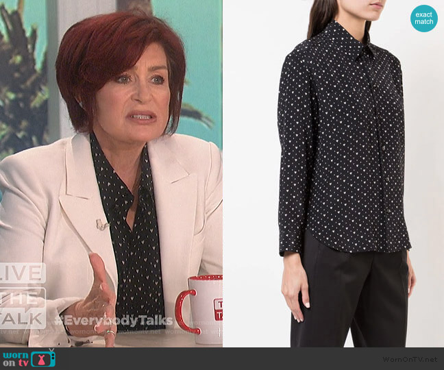 Heart Print Shirt by Saint Laurent worn by Sharon Osbourne  on The Talk