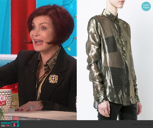 Sheer Metallic Blouse by Saint Laurent worn by Sharon Osbourne  on The Talk
