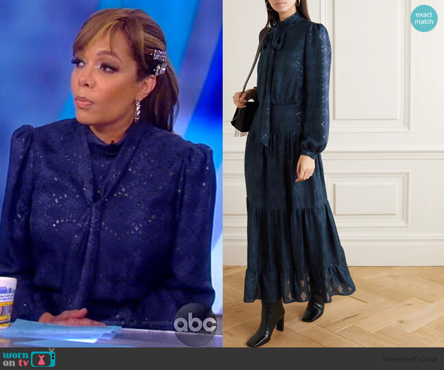 Isabel C pussy-bow silk-blend jacquard maxi dress by Saloni worn by Sunny Hostin  on The View