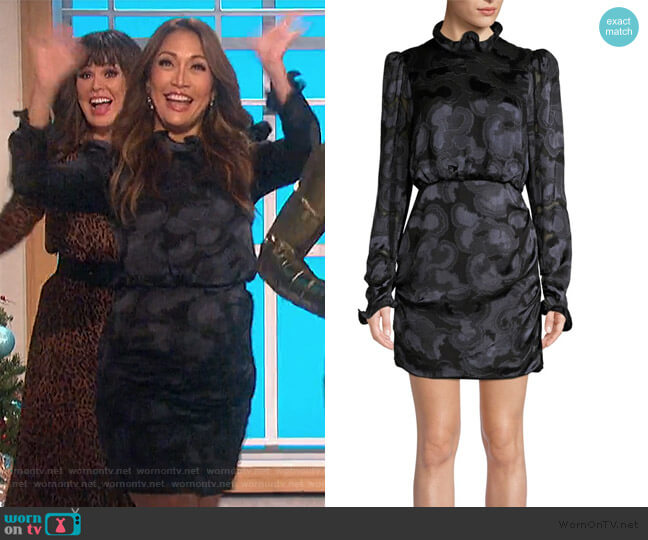 Rina B Floral Jacquard Dress by Saloni worn by Carrie Inaba  on The Talk