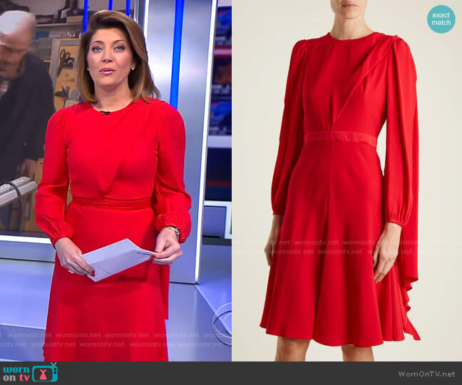 Scarf-Neck Crepe Dress by Alexander McQueen worn by Norah O'Donnell  on CBS Evening News