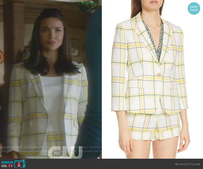 Plaid Dickey Jacket and Carit shorts by Veronica Beard worn by Bess (Maddison Jaizani) on Nancy Drew
