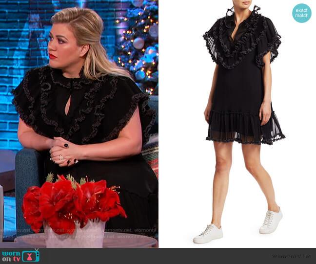 Polka Dot Ruffle Plissé Georgette Shift Dress by See by Chloe worn by Kelly Clarkson  on The Kelly Clarkson Show