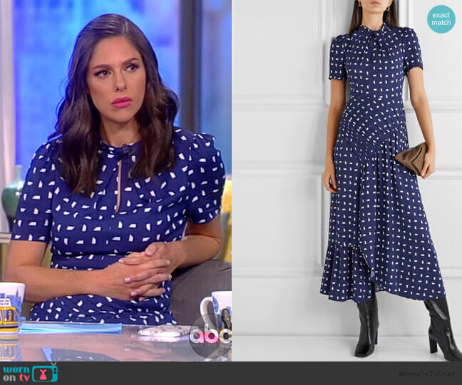 Ruched printed crepe midi dress by Self Portrait worn by Abby Huntsman  on The View