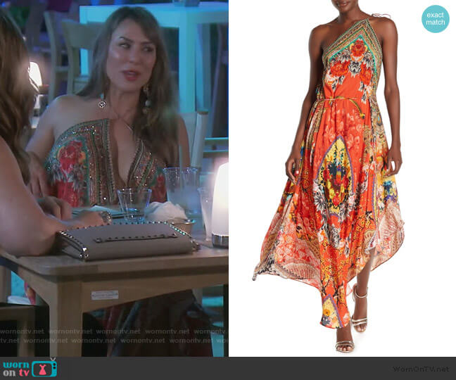 Patterned 3-Way Convertible Maxi Dress by Shahida Parides worn by Kelly Dodd  on The Real Housewives of Orange County