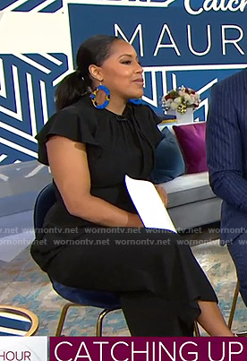 Sheinelle's black ruffled tie neck jumpsuit on Today