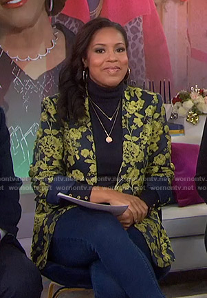 Sheinelle's navy and yellow floral jacket on Today