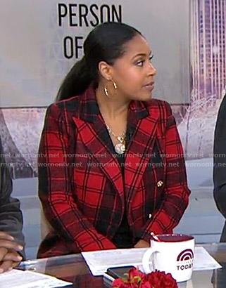 Sheinelle's red plaid wool blazer on Today