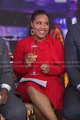 Sheinelle's red tie neck pleated dress on Today