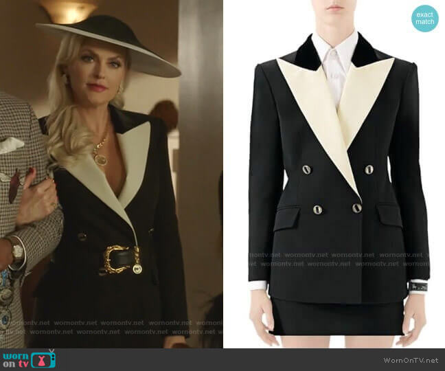 Silk Wool Tuxedo Jacket by Gucci worn by Alexis Carrington (Elaine Hendrix) on Dynasty