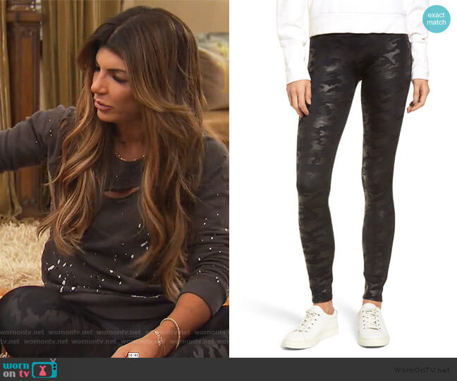 Camo Faux Leather Leggings by Spanx worn by Teresa Giudice  on The Real Housewives of New Jersey