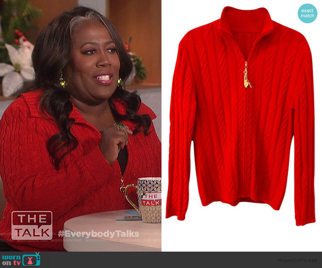 Red Cable Knit Cashmere Charm Zipper Cardigan by St. John worn by Sheryl Underwood  on The Talk