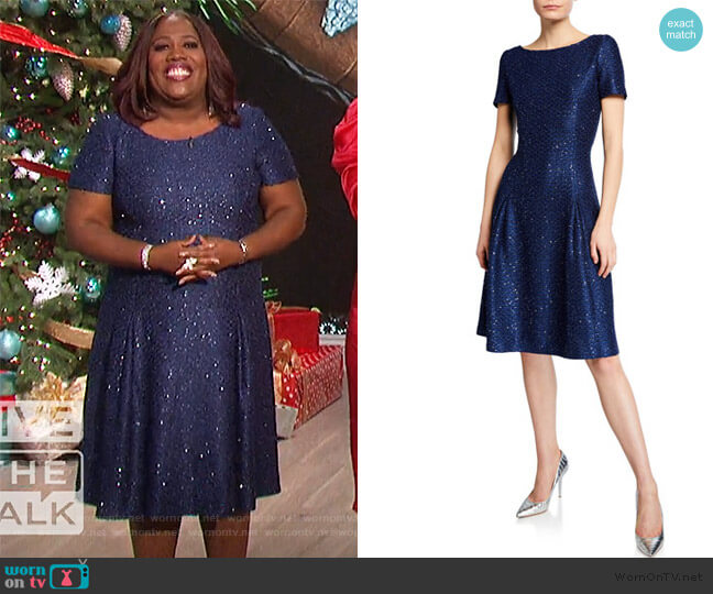 Sparkle Sequin Bateau-Neck Pleated Cocktail Dress by St. John Collection worn by Sheryl Underwood  on The Talk