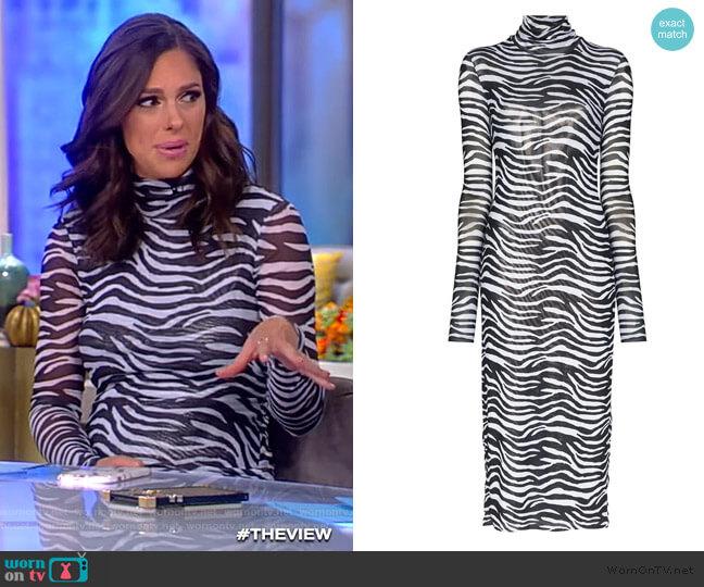 Zebra-print metallic-lined mesh midi dress by Staud worn by Abby Huntsman  on The View