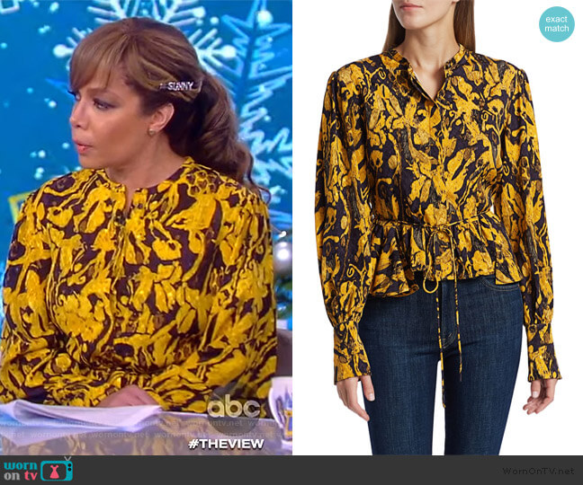 Ren printed jacquard blouse by Stine Goya worn by Sunny Hostin  on The View