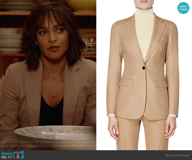 Suistudio Cameron Single Breasted Wool Blazer worn by Edie Palmer (Megalyn Echikunwoke) on Almost Family