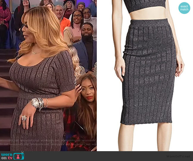 Metallic Skirt by T by Alexander Wang worn by Wendy Williams  on The Wendy Williams Show