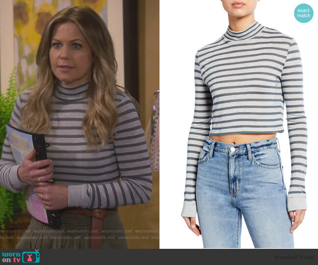 Striped Slub Mock-Neck Top by Alexander Wang worn by DJ Tanner-Fuller (Candace Cameron Bure) on Fuller House