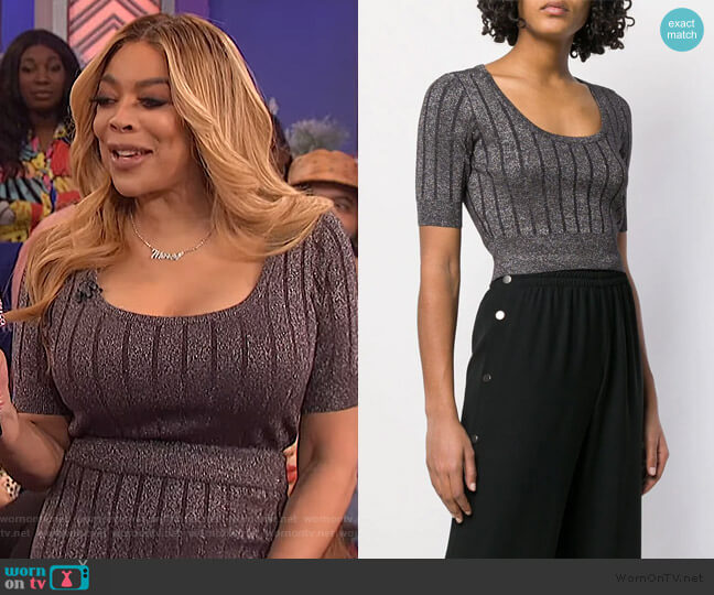 Cropped Ribbed Knit Top by T by Alexander Wang worn by Wendy Williams  on The Wendy Williams Show