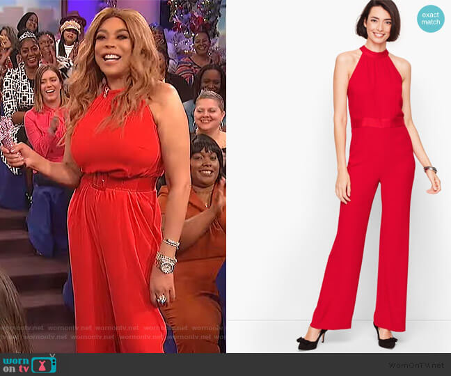 Satin Crepe Halter Jumpsuit by Talbots worn by Wendy Williams  on The Wendy Williams Show