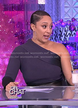 Tamera's ombre one-shoulder ribbed top on The Real