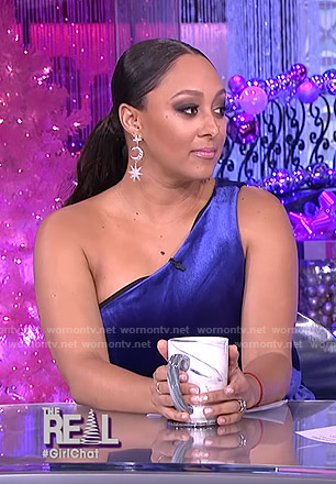 Tamera's blue velvet one-shoulder dress on The Real