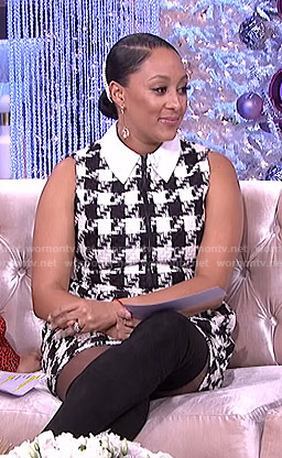 Tamera's houndstooth print sleeveless dress on The Real