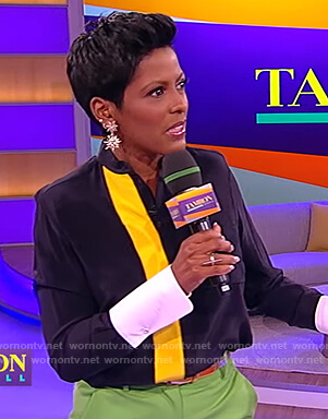 Tamron's contrast blouse on the Tamron Hall Show