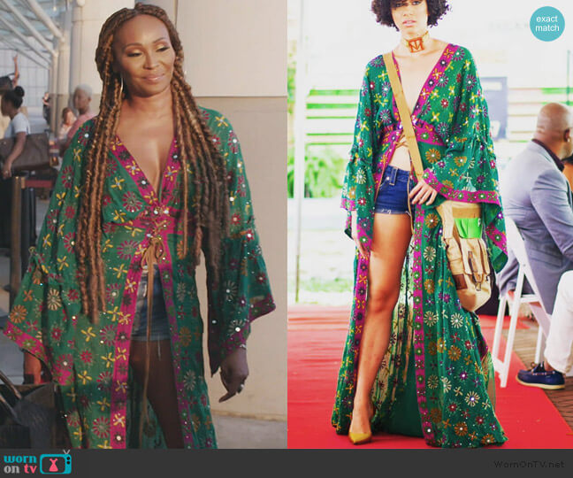 Duster Embroidered Kimono by Tanya-Marie Design worn by Cynthia Bailey  on The Real Housewives of Atlanta