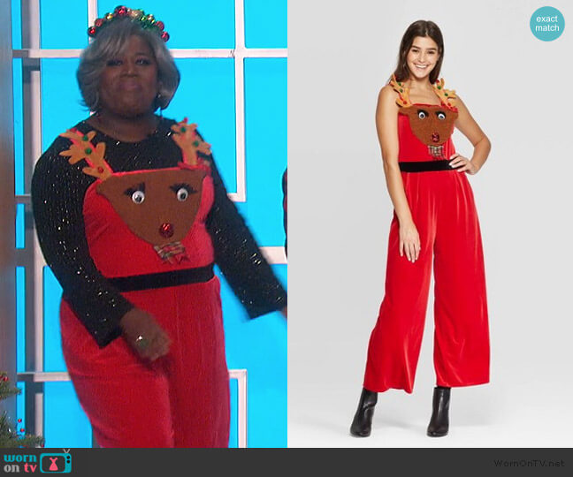 Sleeveless Square Neck Reindeer Ugly Holiday Jumpsuit by Target worn by Sheryl Underwood  on The Talk