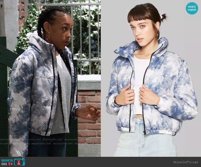 Target Wild Fable Tie Dye Zip-Up Puffer Jacket worn by Trina (Sydney Mikayla) on General Hospital