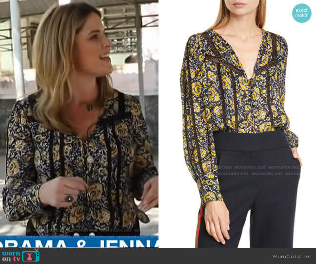 Tarry Crochet Trim Blouse by Veronica Beard worn by Jenna Bush Hager  on Today