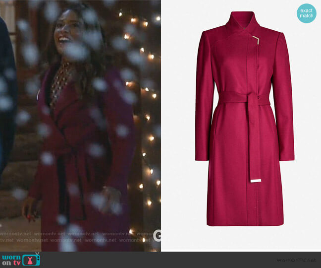 Ellgenc Wrap Coat by Ted Baker worn by Poppy (Kimrie Lewis) on Single Parents
