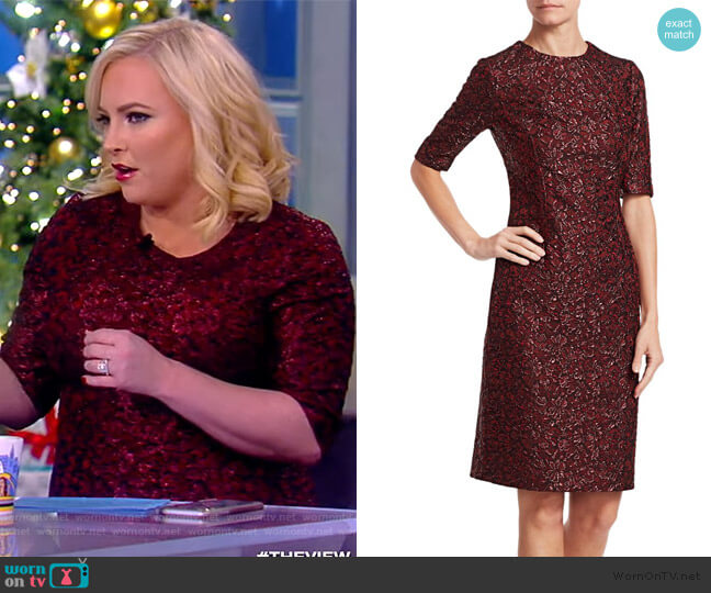 Metallic Jacquard Cocktail Dress by Teri Jon by Rickie Freeman worn by Meghan McCain  on The View
