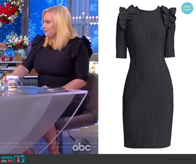 Pinstripe Sheath Dress by Teri Jon worn by Meghan McCain  on The View