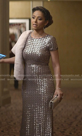 Teri's sequin short sleeve gown on Empire