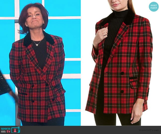 Plaid Riding Jacket by The Kooples worn by Sharon Osbourne  on The Talk