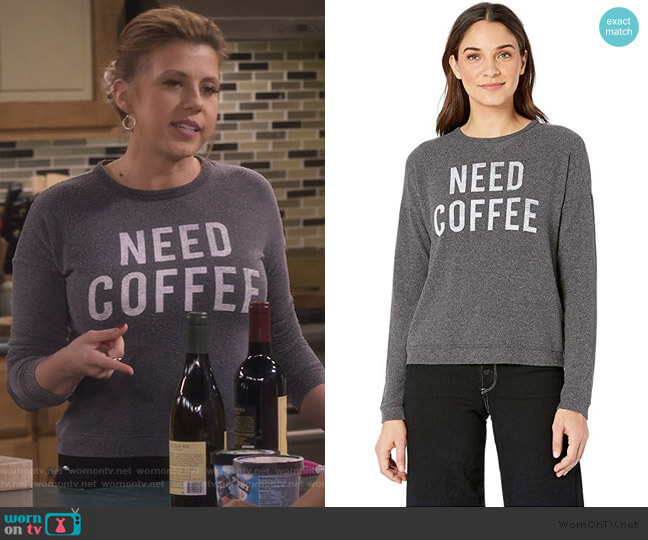 Need Coffee Hacci Supersoft Pullover by The Original Retro Brand worn by Stephanie Tanner (Jodie Sweetin) on Fuller House