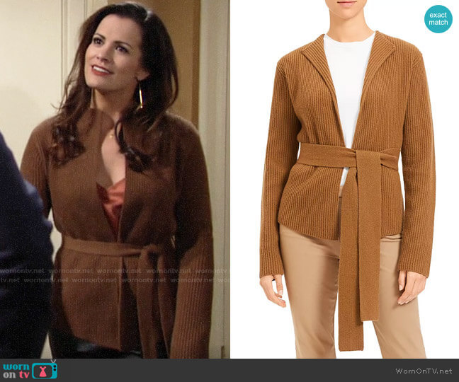 Theory Ribbed Wool & Cashmere Belted Cardigan worn by Chelsea Lawson (Melissa Claire Egan) on The Young & the Restless