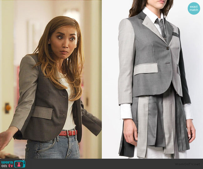 Fun-Mix Twill Sport Coat by Thom Browne worn by Madison Maxwell (Brenda Song) on Dollface