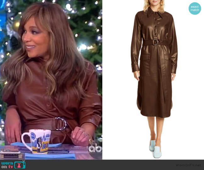 Belted faux leather midi dress by Tibi worn by Sunny Hostin  on The View