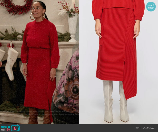 Tibi Merino Rib Sweater Origami Slit Skirt worn by Rainbow Johnson (Tracee Ellis Ross) on Blackish