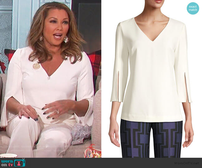 Eastern Lux Frey 2 Slit-Sleeve Top by Trina Turk worn by Vanessa Williams on The Talk
